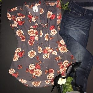 Midnight Sky charcoal gray floral blouse